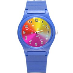 Polka Dots Pattern Colorful Colors Round Plastic Sport Watch (S)