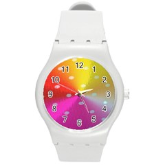 Polka Dots Pattern Colorful Colors Round Plastic Sport Watch (m)