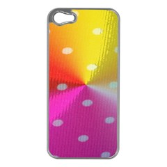 Polka Dots Pattern Colorful Colors Apple iPhone 5 Case (Silver)