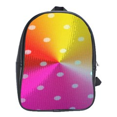 Polka Dots Pattern Colorful Colors School Bags (XL)