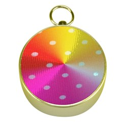 Polka Dots Pattern Colorful Colors Gold Compasses