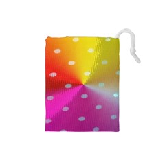 Polka Dots Pattern Colorful Colors Drawstring Pouches (Small)