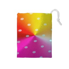 Polka Dots Pattern Colorful Colors Drawstring Pouches (Medium)