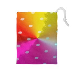 Polka Dots Pattern Colorful Colors Drawstring Pouches (Large)