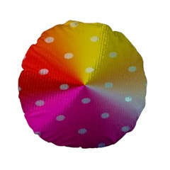 Polka Dots Pattern Colorful Colors Standard 15  Premium Flano Round Cushions