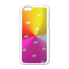 Polka Dots Pattern Colorful Colors Apple iPhone 6/6S White Enamel Case