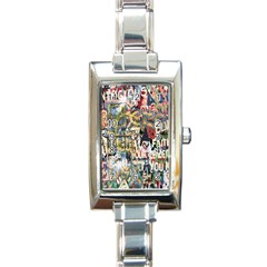 Graffiti Wall Pattern Background Rectangle Italian Charm Watch