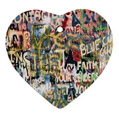Graffiti Wall Pattern Background Ornament (heart)