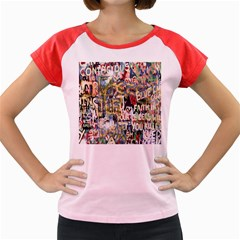 Graffiti Wall Pattern Background Women s Cap Sleeve T Shirt