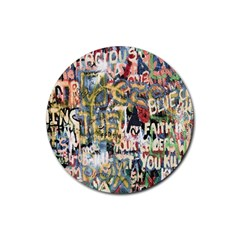 Graffiti Wall Pattern Background Rubber Round Coaster (4 Pack)