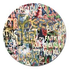 Graffiti Wall Pattern Background Magnet 5  (round)