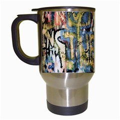 Graffiti Wall Pattern Background Travel Mugs (White)