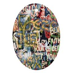 Graffiti Wall Pattern Background Oval Ornament (two Sides)