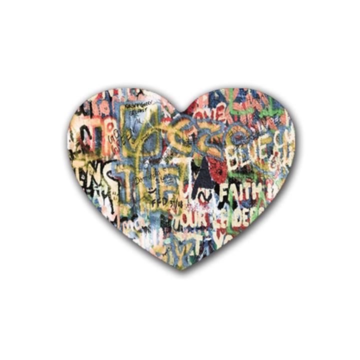 Graffiti Wall Pattern Background Rubber Coaster (Heart)