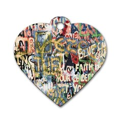 Graffiti Wall Pattern Background Dog Tag Heart (two Sides)