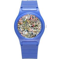 Graffiti Wall Pattern Background Round Plastic Sport Watch (s)