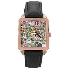 Graffiti Wall Pattern Background Rose Gold Leather Watch