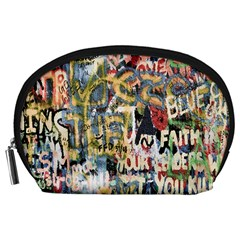 Graffiti Wall Pattern Background Accessory Pouches (Large)