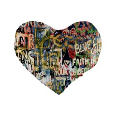 Graffiti Wall Pattern Background Standard 16  Premium Flano Heart Shape Cushions