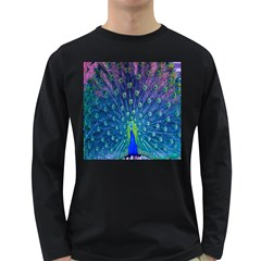 Amazing Peacock Long Sleeve Dark T Shirts