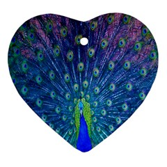 Amazing Peacock Heart Ornament (Two Sides)