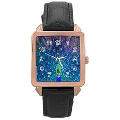 Amazing Peacock Rose Gold Leather Watch