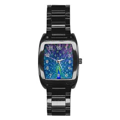 Amazing Peacock Stainless Steel Barrel Watch