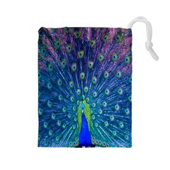 Amazing Peacock Drawstring Pouches (Large)