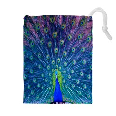 Amazing Peacock Drawstring Pouches (Extra Large)
