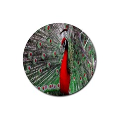 Red Peacock Rubber Round Coaster (4 Pack)