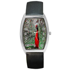 Red Peacock Barrel Style Metal Watch