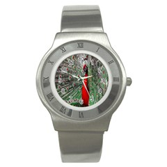 Red Peacock Stainless Steel Watch