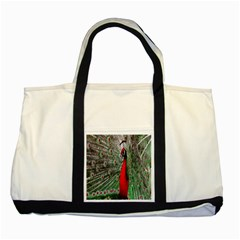 Red Peacock Two Tone Tote Bag