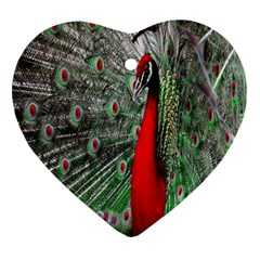 Red Peacock Heart Ornament (two Sides)