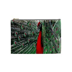 Red Peacock Cosmetic Bag (medium)