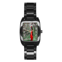 Red Peacock Stainless Steel Barrel Watch