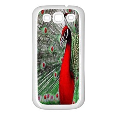 Red Peacock Samsung Galaxy S3 Back Case (White)