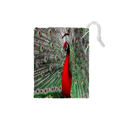Red Peacock Drawstring Pouches (Small)