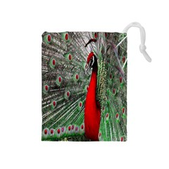 Red Peacock Drawstring Pouches (Medium)