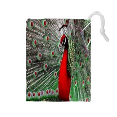 Red Peacock Drawstring Pouches (Large)