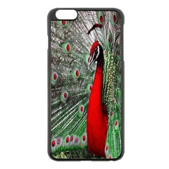Red Peacock Apple iPhone 6 Plus/6S Plus Black Enamel Case