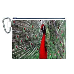 Red Peacock Canvas Cosmetic Bag (l)