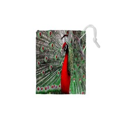 Red Peacock Drawstring Pouches (xs)