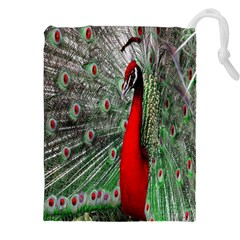 Red Peacock Drawstring Pouches (XXL)