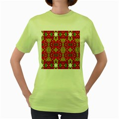 Abstract Background Design With Doodle Hearts Women s Green T Shirt