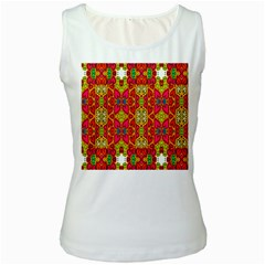Abstract Background Design With Doodle Hearts Women s White Tank Top