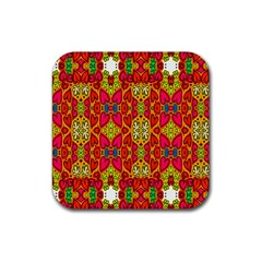 Abstract Background Design With Doodle Hearts Rubber Coaster (Square)