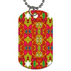 Abstract Background Design With Doodle Hearts Dog Tag (One Side)