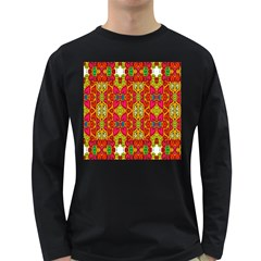 Abstract Background Design With Doodle Hearts Long Sleeve Dark T Shirts