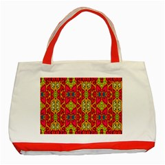 Abstract Background Design With Doodle Hearts Classic Tote Bag (red)